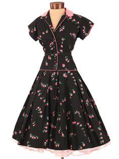 50s Black Pink Rose Print Full Skirt Dress