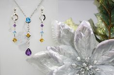 Amethyst, Blue Topaz and Citrine Earrings and Necklace set at @LarcJewelers #LarcJewelers #DuPage_Jewelers