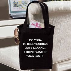 Yoga to Relieve Stress Tote  You will LOVE all of our new stuff!  www.femailcreatio... #UniqueGifts #GiftsForWomen #Gifts #GiftsForAllOccassions #InspirationalGifts #Love #NewProducts #Apparel #Deals