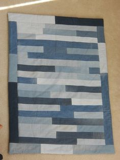 blue jean quilt, long strips of denim, Etsy