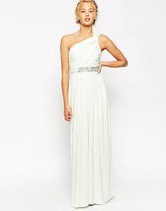 ASOS One Shoulder Maxi With Embellished Trim Dress