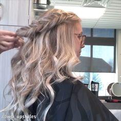 Halfup halfdown hairstyle wedding hairstyles - wedding hairstyles half up half down - wedding hairst Fishtail Braid Wedding, Fishtail Braid Hairstyles, Fancy Hairstyles, Wedding Hairstyles, Hairstyles Videos, Blonde Hairstyles, Beautiful Hairstyles, Wedding Updo, Wedding Makeup
