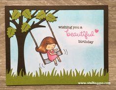 Wishing you a beautiful birthday (Lawn Fawn) - studio 4490  Use this idea with sitting greeting card gal.