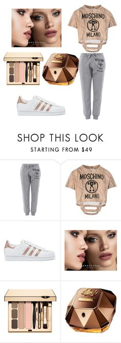 """""""sport love"""" by almira-saletovic ❤ liked on Polyvore featuring Moschino, adidas Originals, Anastasia Beverly Hills and Paco Rabanne"""
