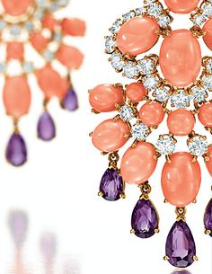 A PAIR OF CORAL, AMETHYST AND DIAMOND 'PANKA' EAR PENDANTS BY VAN CLEEF & ARPELS  -- From Elizabeth Taylor's jewelry collection.