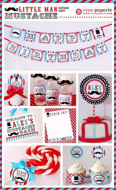 Little Man Mustache Birthday Party - Printable Decoration by www.venspaperie.com