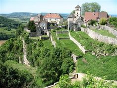 A walk through vineyards up to the historic village of Château Chalon famous for its wine.