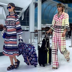 Rolling suitcases, bright prints, and backwards baseball caps at Chanel
