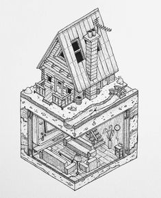 A cool #isometric #architecture #illustration by Grant Abernathy (@abz_fineart) of a wooden cabin with a bit more to offer than the typical amenities.  After a long day of hunting and trapping up north in the Canadian coniferous forest you come home to clean and cook your catches and eat some grub. But after that life can be pretty dull... or is it? What you need is a luxury cabin from Iso Metrics! Let everyone else think of you as a rugged wilderness-loving mountaineer when in fact your…