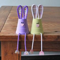 How cute! Bunnies made from foam cups, what a great Easter craft for the kids! by beatrice
