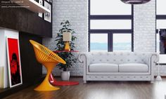 Yellow white red living room