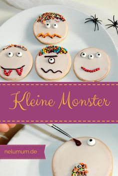Cute monsters for Halloween - NeLuMum - Monster crazy food! That fits perfectly with our next monster party for children& birthday. Halloween Desserts, Halloween Buffet, Halloween Party Snacks, Halloween Cupcakes, Halloween Night, Halloween Crafts, Happy Halloween, Halloween Decorations, Halloween Recipe