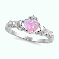 Irish Claddagh Pink Opal Heart CZ Sterling Silver Promise Ring Size 4-12 #CladdaghRing
