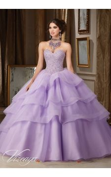 Quinceanera Dress 89111 Crystal Moonstone Beading on Flounced Tulle and Organza Ball Gown