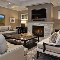 contemporary living room by Bruce Johnson & Associates Interior Design - love the coffered ceiling and neutral colors