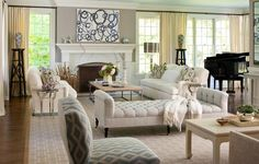Small Living Room Ideas with Fancy Interior and Furniture: Engaging White Tufted Fabric Benches And Upholstery Couch Also White Mantel Fireplace In Open Floors Small Living Room Ideas