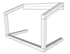 Drawing of the frame of a chicken coop nesting box - Excellent instructions and detailed supply list