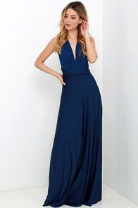 The Always Stunning Convertible Navy Blue Maxi Dress includes two, long lengths of fabric that sprout from an elastic waistband and wrap into dozens of possible bodice styles! Sexy Maxi Dress, White Maxi Dresses, Long Dresses, Dress Long, Prom Dresses, Vestido Convertible, Marine Uniform, Blue Maxi, Clothes