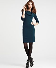 Ann Taylor Cowl Sweater Neck Dress - 40% off now and perfect for Fall