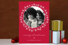 Red Wreath Christmas Photo Cards by Gakemi Art+Design at minted.com