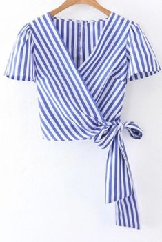 Cheap tie short sleeve shirt, Buy Quality women blouses directly from China shirt lady Suppliers: Summer white blue striped cross V neck crop tops women blouses 2017 bow tie short sleeve shirts ladies casual tops blusas Short Sleeve Collared Shirts, Long Sleeve Crop Top, Short Sleeves, Diy Fashion, Ideias Fashion, Fashion Outfits, Dress Fashion, Fashion Fashion, Trendy Fashion