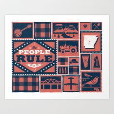 arkansas art print by Zach Graham for the 50 and 50 project, curated by Dan Cassaro, which attempts to construct a handsome new way of looking at the united states. fifty designers, one per state, have illustrated their state motto - $22.88