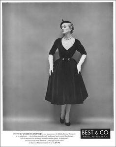 Alice Bruno in velvet dress with sculptured decolletage by Mollie Parnis, Vogue, September 15, 1951