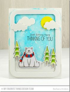 Polar Bear Pals Stamp Set and Die-namics, Chill Wishes Stamp Set and Die-namics, Stitched Rounded Rectangle Frames Die-namics, Snow Drifts Die-namics, Puffy Clouds Die-namics, Blueprints 21 Die-namics - Barbara Anders - #mftstamps