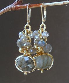 Reserved - Labradorite Briolette and Pyrite Earrings. These would be pretty and different