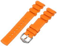 HIRSCH Extreme L, Naturkautschuk, 76 orange, 20 mm, Stahlschließe - http://uhr.haus/hirsch-active/hirsch-404988-76-20-20-mm-caoutchouc-armbanduhr