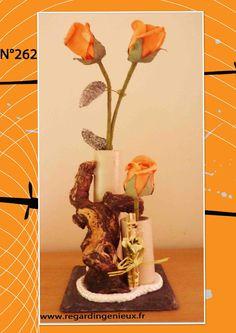 SOLIFLORE/VASE ROUGE BOIS FLOTTE N°276. FABRICATION ARTISANALE ...