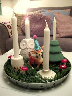 cute little vintage deer candlescape.