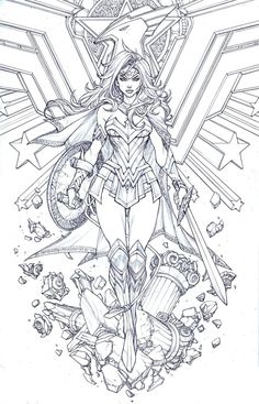 Drawing Superhero Wonder Woman by Paolo Pantalena - Wonder Woman Kunst, Wonder Woman Drawing, Wonder Woman Art, Wonder Woman Tattoos, Wonder Woman Comic, Wonder Woman Logo, Wonder Women, Adult Coloring Book Pages, Colouring Pages