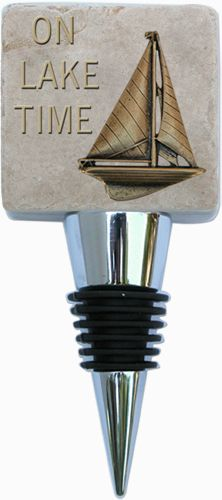 On Lake Time Wine Bottle Stopper designed by Classic Legacy
