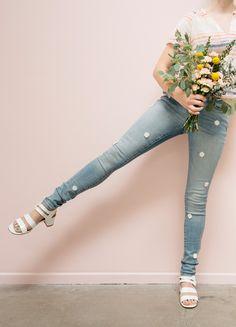 daisy patch jeans tutorial via Oh Joy!