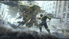 The Avengers: Leviathan vs Hulk, Aaron McBride on ArtStation at https://www.artstation.com/artwork/8ko9x