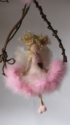 Art doll Needle felted Waldorf inspired Magic fairy Mobile On