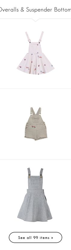 """Overalls & Suspender Bottoms"" by raelenas ❤ liked on Polyvore featuring dresses, skirts, overalls, bottoms, shorts, dungarees, playsuits, grey, print dress and grey dresses"