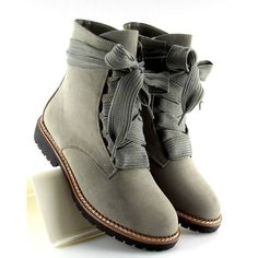 Botki sznurowane szare 8308 Grey 2 Lace Up Heels, Suede Heels, Shoe Boots, Ankle Boots, Timberland Waterproof Boots, Timberland Boots Outfit, Yellow Boots, Snow Boots Women, Sneaker Boots