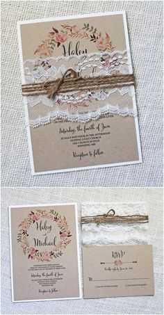 Rustic Vintage Lace Wedding Invitations / http://www.deerpearlflowers.com/rustic-wedding-invitations-from-etsy/