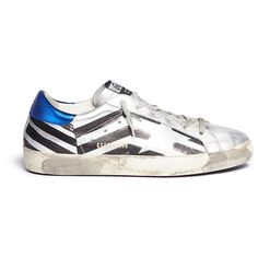 Golden Goose 'Superstar' flag stripe metallic leather sneakers ($450) ❤ liked on Polyvore featuring shoes, sneakers, metallic, american shoes, metallic sneakers, stripe shoes, silver metallic shoes and leather sneakers