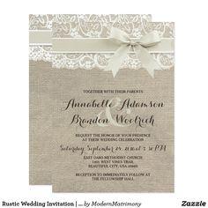 Rustic Wedding Invitation   Burlap Lace Bow Look