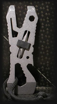 The Piranha Pocket Tool ($50) is made from a single piece of heat-treated, corrosion-resistant S30V stainless steel, features a built-in neoprene double-ended driver bit holder, a multitude of open and box wrenches, a bottle opener, nail puller, scraper, and pry ends.