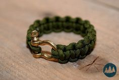 Handmade Paracord Survival Bracelet Camo Green With Brass Shackle