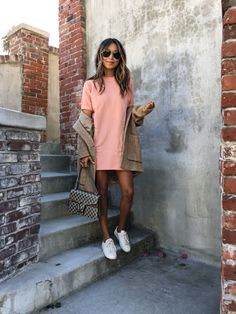 Rose. – Sincerely Jules. Light pink dress+white sneakers+camel coat+camel and taupe Gucci Dionysus chain shoulder bag+sunglasses. Fall Casual Outfit 2016