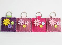 Felt Flower Button Keyring