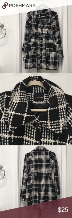 Trench coat by Poetry size S Plaid coat by Poetry size S. Gently worn. No flaws. Black and off white Poetry Jackets & Coats Trench Coats