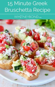 Looking for the perfect Mediterranean appetizer made in just 15 minutes? Try this easy Greek Bruschetta recipe made with fresh cherry tomatoes, cucumbers, hummus and feta cheese! From Whitney Bond Lunch Snacks, Clean Eating Snacks, Lunch Box, Easy Bruschetta Recipe, Tomato Bruschetta, Mediterranean Appetizers, Mediterranean Recipes, Light Appetizers, Appetizer Recipes