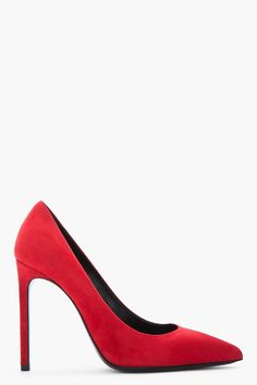 Saint Laurent Red Suede Paris Pump -  Saint Laurent Red Suede Paris Pump Saint Laurent Brushed suede heels in red. Pointed toe. Leather sole in black. Tonal stitching. Approx. 4 stiletto heel. Price $645.00 Click HERE for more Information