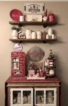 New Farmhouse Coffee Bar Hot Chocolate Ideas - Coffee Bar Christmas Coffee, Christmas Kitchen, Rustic Christmas, Christmas Home, Xmas, Christmas Decor, Coffee Bar Home, Coffee Corner, Coffee Bars